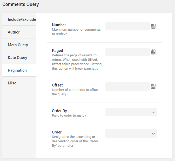 Comments Query pagination settings