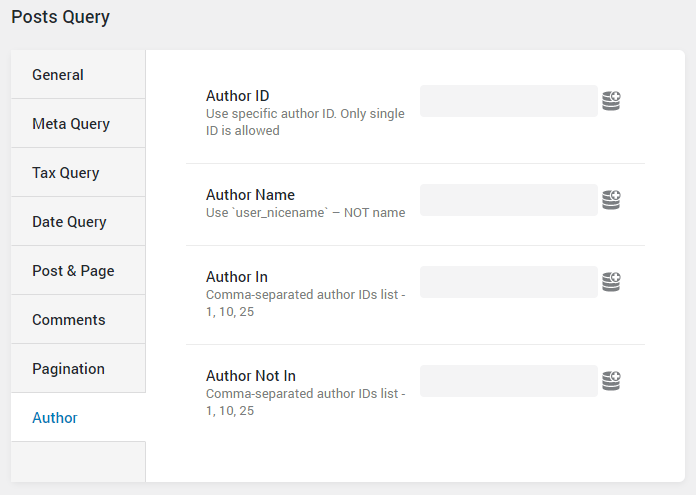 Post Query author settings