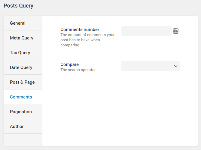 Post Query comments settings