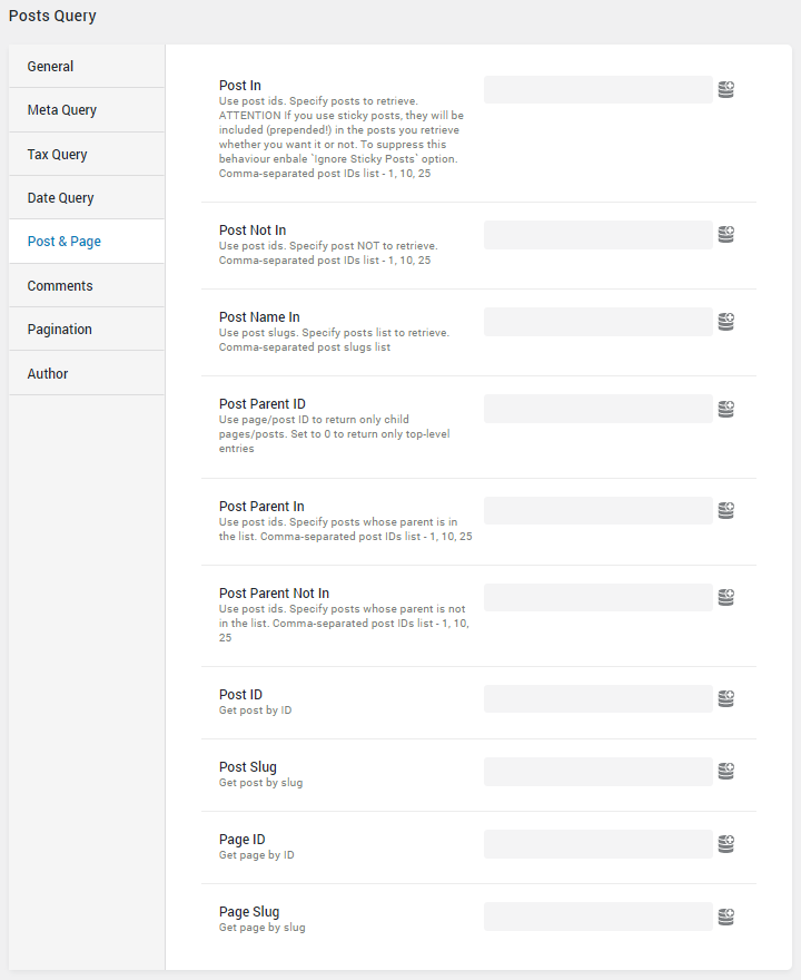 Post Query post&page settings