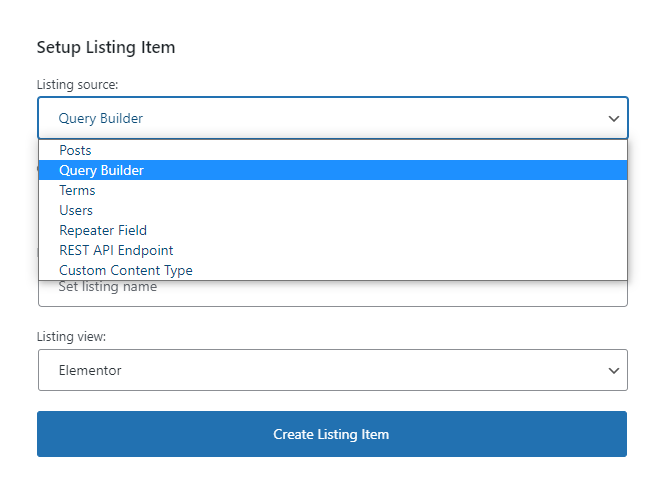 creating a listing for query