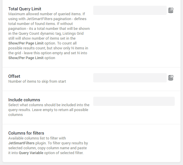SQL Query settings