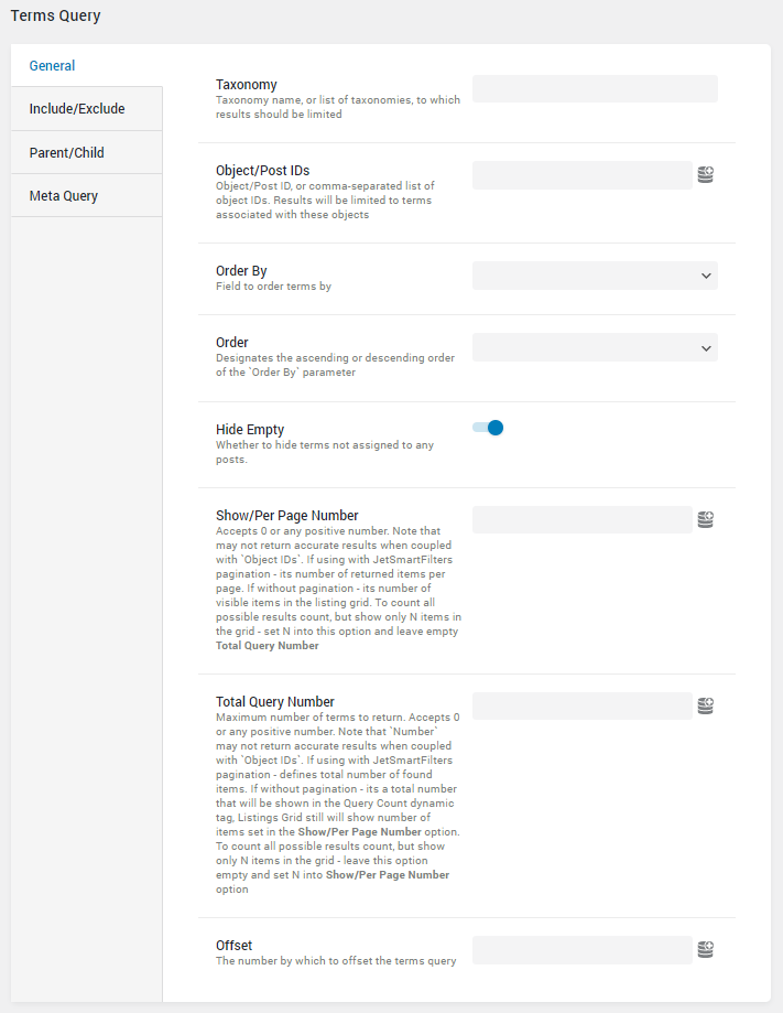 Terms Query general settings