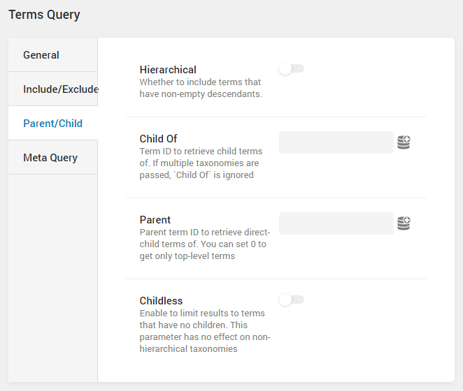 Terms Query parent/child settings