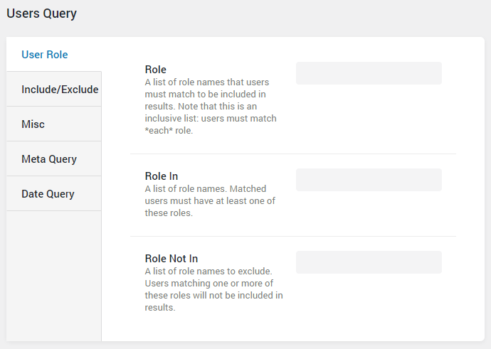 User Query user roles settings