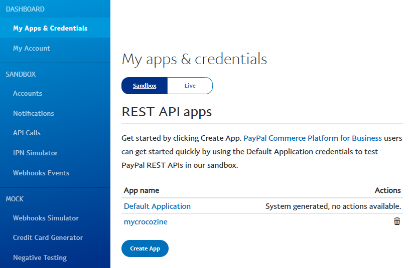 sandbox and live toggle switcher on paypal developer site