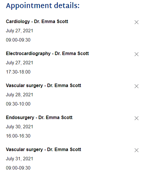 Appointments for different services
