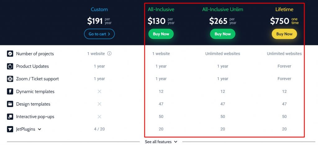 All-Inclusive and Lifetime subscriptions