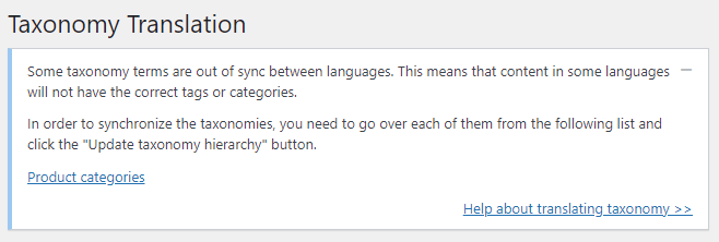 taxonomy terms out of sync service message