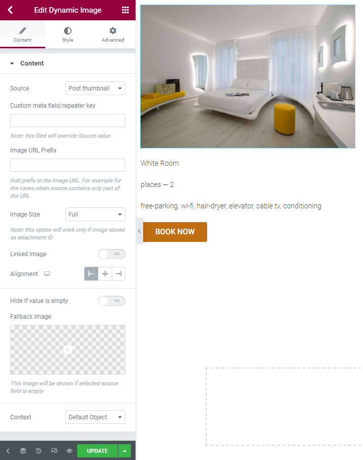 hotel single page