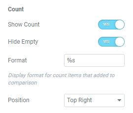 compare count button settings