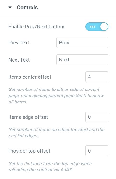controls pagination elementor