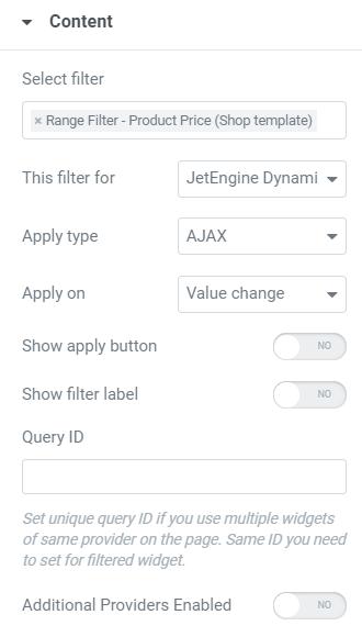 range filter content tab