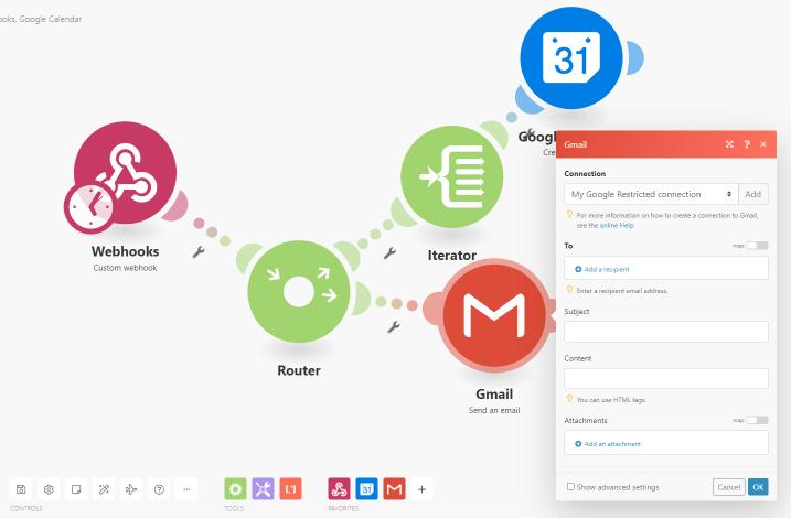 router multi booking gmail calendar