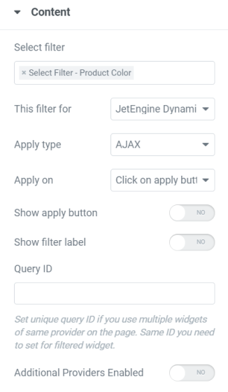 select filter content settings