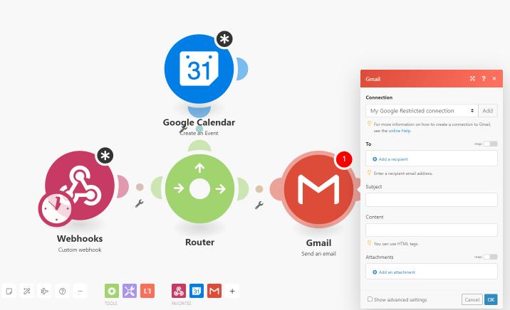 set up gmail integromat