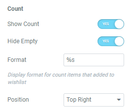 wishlist count button settings