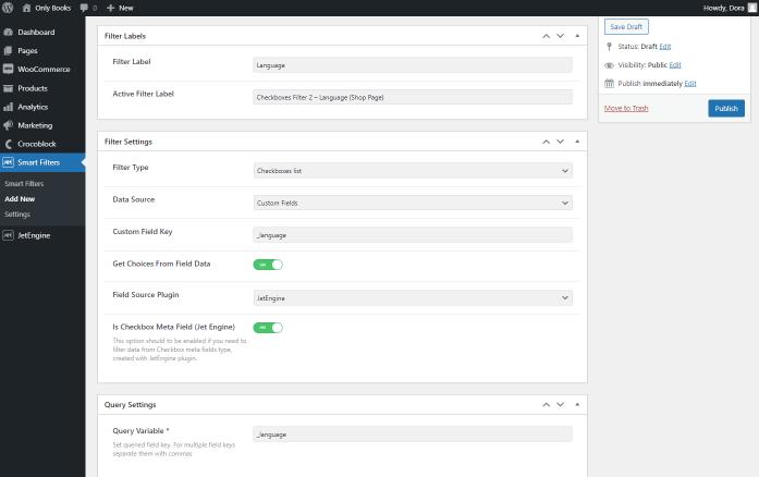 adding language checkboxes filter using custom fields
