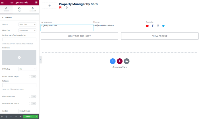 dynamic field with meta field in user listing
