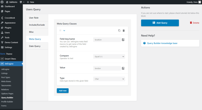 query builder users query settings