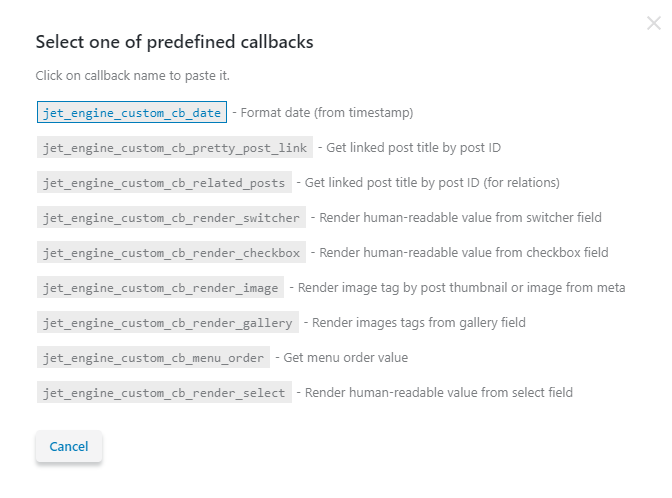 select one of predefined callbacks
