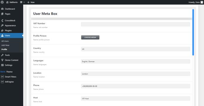 user profile custom meta box