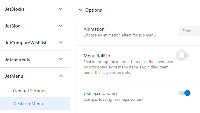 The Menu RollUp option is switched off