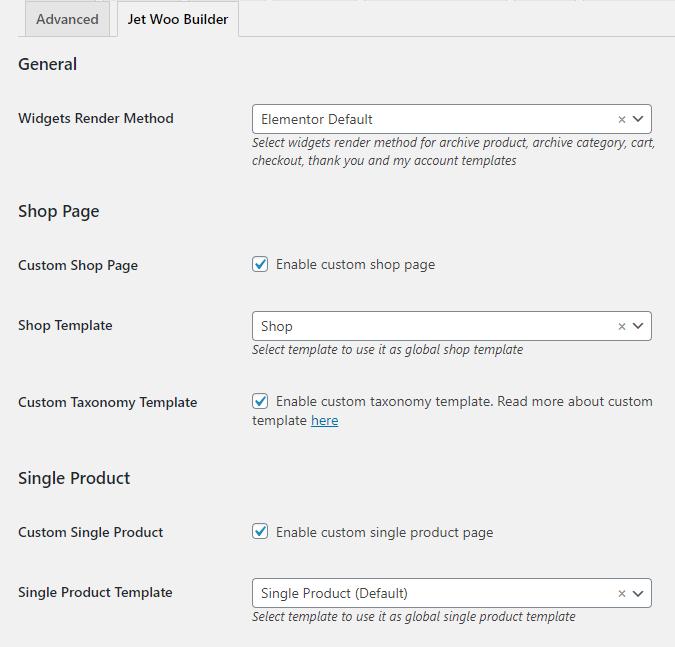custom shop page template settings