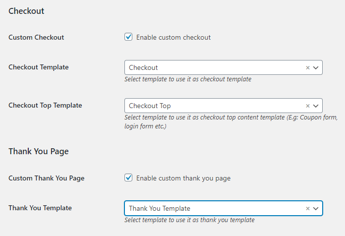 custom checkout and thank you page template settings