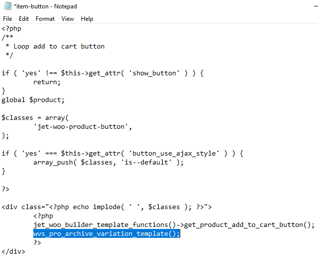item-button code