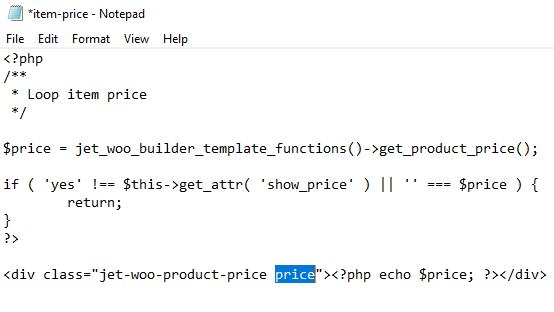 item-price code