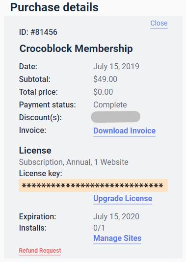 crocoblock membership details
