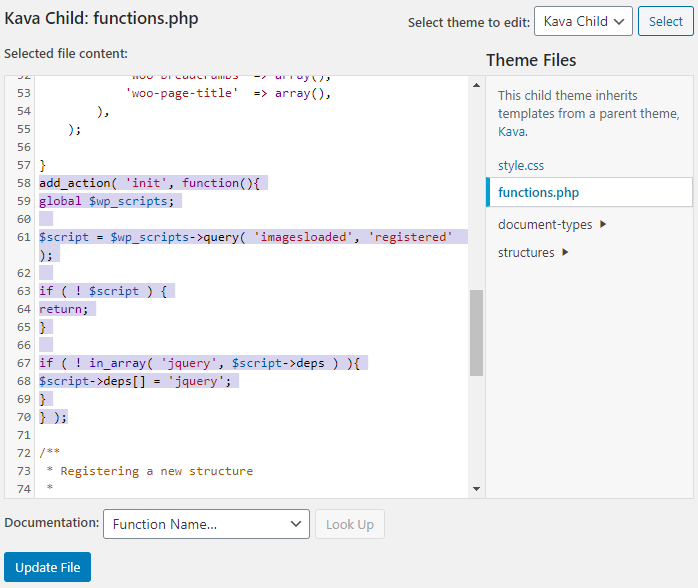 inserted code into the theme functions.php file