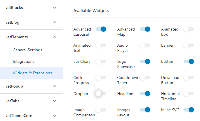 Available Widgets tab in the JetElements Settings menu