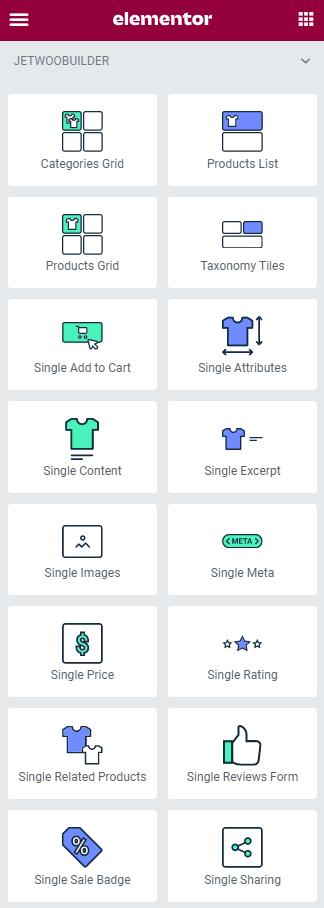 single product widgets list in elementor