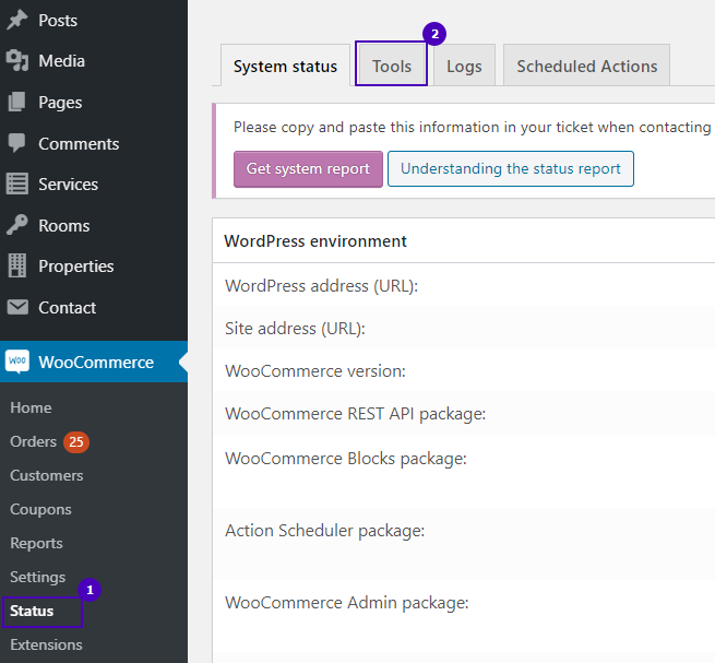 tools tab in woocommerce status settings