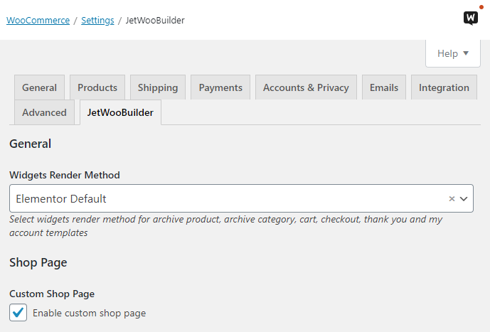 widget render method in woocommerce settings