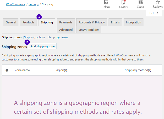shipping zones tab in WooCommerce settings
