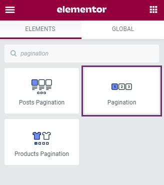pagination widgets in elementor