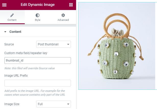 dynamic image widget settings in Elementor