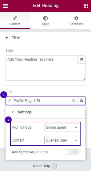 User field settings tab in the link row