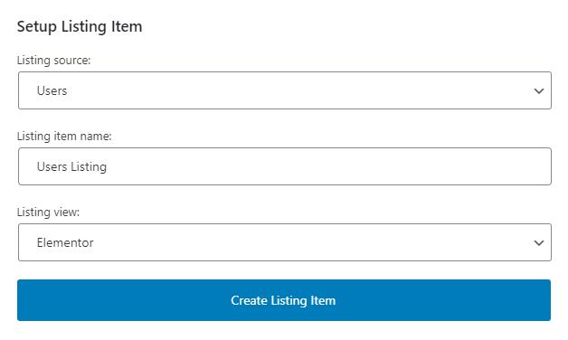 listing grid creation settings