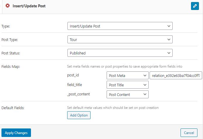 insert/update post notification settings