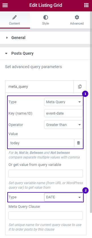 posts query section settings