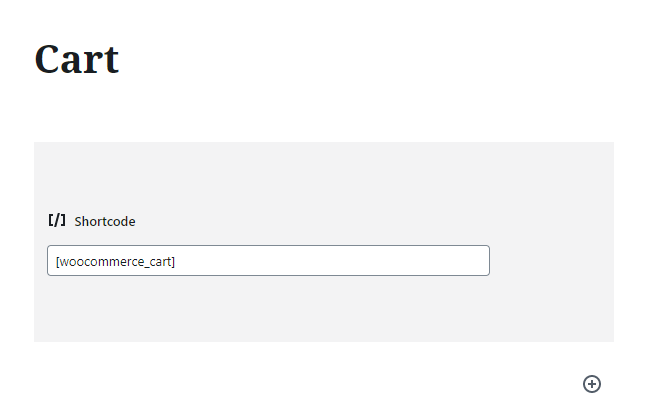 cart page shortcode