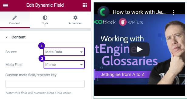 dynamic field settings in elementor