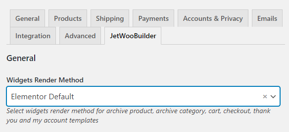 jetwoobuilder settings in woocommerce