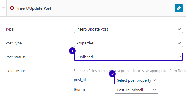 settings to add new posts