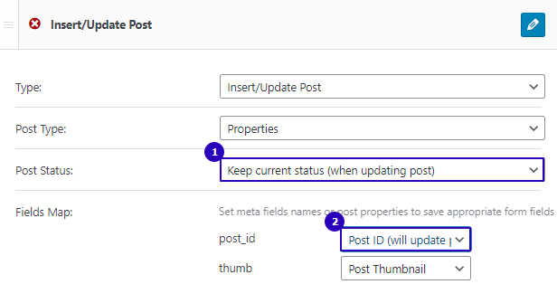 settings to update the post