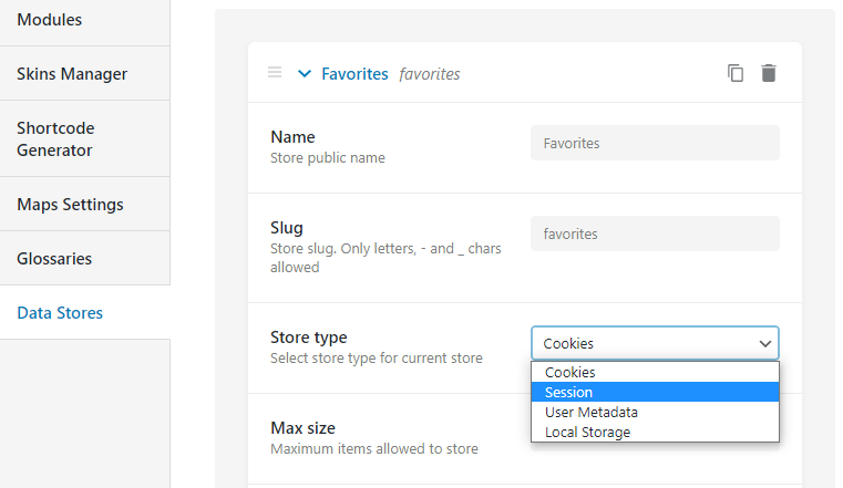 possible store types for favorites datastore
